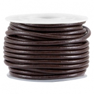 DQ leer rond 3mm Coffee brown