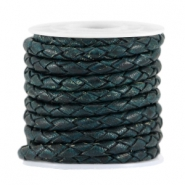 DQ leer 3mm 4 draden rond gevlochten Dark teal blue - antique finish