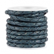 DQ leer 4mm 4 draden rond gevlochten Teal blue - antique finish