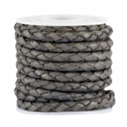 DQ leer 3mm 4 draden rond gevlochten Dark grey - vintage finish