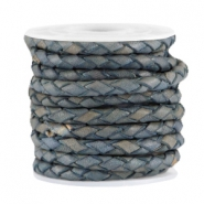 DQ leer 4mm 4 draden rond gevlochten Denim blue - vintage finish