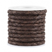 DQ leer 3mm 4 draden rond gevlochten Dark chocolate brown - vintage finish