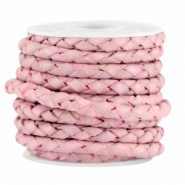 DQ leer 3mm 4 draden rond gevlochten Light pink - vintage finish