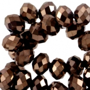 Top facet kralen 6x4mm disc Copper brown metallic