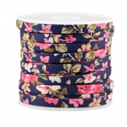 Trendy plat koord 5mm Dark blue - rose