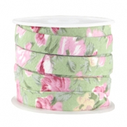 Trendy plat koord 10mm Soft green - rose
