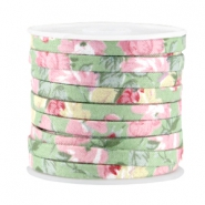 Trendy plat koord 5mm Soft green - rose