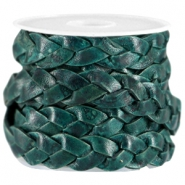 DQ leer plat gevlochten 10mm Dark teal blue - antique finish