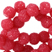 Sparkling beads 6mm Dark rose red