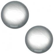 Polaris cabochon soft tone 12mm shiny Silver grey