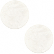 Polaris cabochon soft tone plat 20mm matt Greenish beige