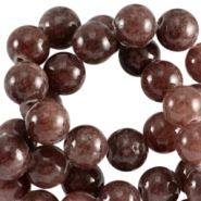 Half edelsteen kralen rond 6mm Agaat Dark brown