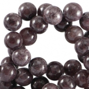 Half edelsteen kralen rond 6mm Agaat Purple brown