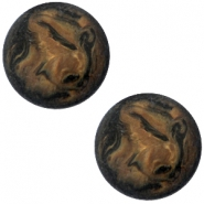 Polaris cabochon Perseo 12mm matt Black smoke topaz