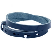 Cuoio armbanden leer 8 mm dubbel voor 12 mm cabochon Strong blue