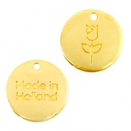 "DQ metalen bedels 12mm ""made in Holland"" tulp Goud (nikkelvrij)"