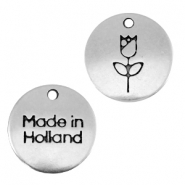 "DQ metalen bedels 12mm ""made in Holland"" tulp Antiek zilver (nikkelvrij)"