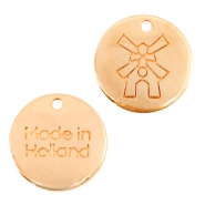 "DQ metalen bedels 12mm ""made in Holland"" molen Rosé goud (nikkelvrij)"