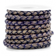 DQ leer 4mm 4 draden rond gevlochten Natural royal blue - vintage finish