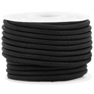 DQ leer rond 3 mm Black - vintage finish