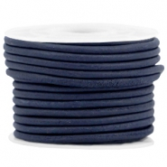 DQ leer rond 3 mm Navy blue - vintage finish