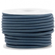 DQ leer rond 3 mm Royal blue - vintage finish