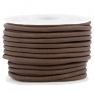 DQ leer rond 3 mm Dark brown - vintage finish