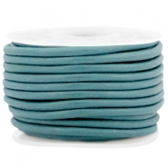 DQ leer rond 3 mm Dark teal green - vintage finish