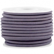 DQ leer rond 3 mm Royal purple - vintage finish
