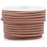 DQ leer rond 3 mm Soft brown - vintage finish
