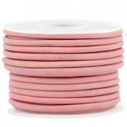 DQ leer rond 3 mm Rouge pink - vintage finish