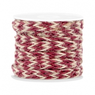 Trendy plat gevlochten waxdraad 7mm Port red
