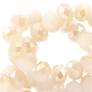Top Facet kralen 6x4 mm disc White mist-half light rosegold coating