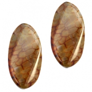 Half edelsteen kralen ovaal Red brown opal