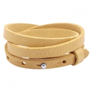 Cuoio armbanden leer triple 8 mm voor 12 mm cabochon Ochre yellow gold