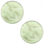 12 mm platte cabochon Polaris Elements Parelmoer Vintage crysolite green