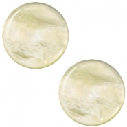 12 mm platte cabochon Polaris Elements Parelmoer Tea green