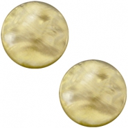20 mm platte cabochon Polaris Elements Parelmoer Light olive green
