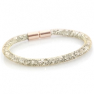 Armbanden single met kristal facet Goud - silver crystal