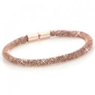 Armbanden single met kristal facet Rose gold - silver crystal