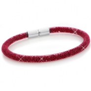 Armbanden single met kristal facet Velvet red - siam