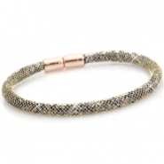 Armbanden single met kristal facet Antiek goud - crystal silver shade