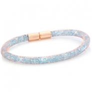 Armbanden single met kristal facet Rose gold - light sapphire