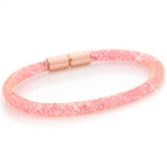 Armbanden single met kristal facet Goud - light pink