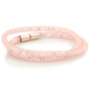 Armbanden dubbel met kristal facet Light rose gold - crystal