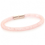 Armbanden single met kristal facet Light rose gold - crystal
