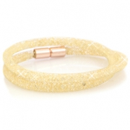 Armbanden dubbel met kristal facet Goud - light colorado topaz