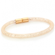 Armbanden single met kristal facet Champagne goud - crystal