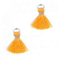 Mini kwastjes Ibiza style Zilver-Coral orange