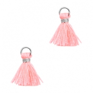 Mini kwastjes Ibiza style Zilver-Neon coral pink